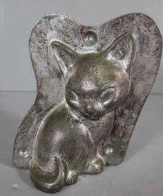 tin chocolate mold - cat