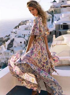 a6e2ab9c1e8 V Neck Floral Print Lace up Maxi Dress