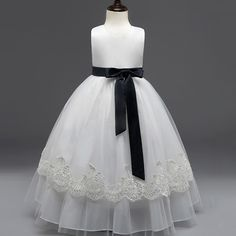 Vintage Lace Ribbon Dress Flower Girl Wedding Formal Party White Dress Fancy Princess Costume Kids Ruched Mesh Vestdio 12 Years