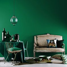 emerald green feature wall