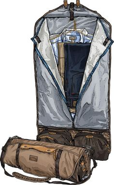 This ingenious overnight garment bag solves the short trip wrinkling problem. Compression straps and clips eliminate creases and shifting.
