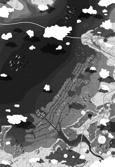 MASTER PLAN OF SEA RISE CITY: Sea Rise City is a landscape grown from bamboo on the Severn estuary in Bristol. The landscape is grown accordingly as sea levels rise, here the extent of climate change is envisaged as 7m+ by the year 2275 and development is illustrated in 1m+ waves. [Source: Alfie Hope]
