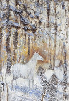 White Horse In Winter Woods By Ilya Kondrashov Painting OriginalArt OrifinalsForSale