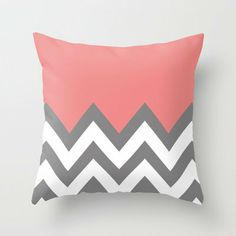 $20.00-CORAL COLORBLOCK CHEVRON Throw Pillow by natalie sales