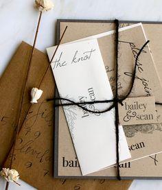 Rustic Charm  Recycled Wedding Invitations Ivory por BeaconLane