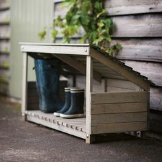 Buy the Wooden Wellington Boot Rack from Fallen Fruits today! A part of our Wellington Racks & Boot Storage range. Outdoor Shoe Storage, Boot Storage, Porch Storage, Storage Boxes, Storage Ideas, Rustic Furniture, Garden Furniture, Furniture Design, Furniture Storage