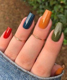 Simple Fall Nails, Simple Acrylic Nails, Best Acrylic Nails, Easy Nail Art, Toe Nail Color, Fall Nail Colors, Nail Manicure, Gel Nails, Nail Polishes