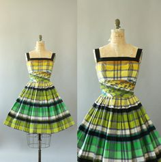 Vintage 50s Dress/ 1950s Cotton Dress/ Alix of Miami Green, Yellow, Black Plaid Shelf Bust Cotton Dress S by WhenDecadesCollide on Etsy https://www.etsy.com/listing/230561133/vintage-50s-dress-1950s-cotton-dress