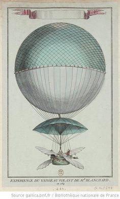 Expérience du vaisseau volant de Mr. Blanchard en 1784  -estampe