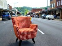 Mid Century Hounds Tooth Chair in Downtown Elizabethton Tennessee. @ Ritchie's Furniture and Appliance.