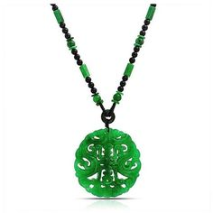 Bling Jewelry Gemstone Onyx Jade Chinese Good Luck Medallion Necklace... ($56) ❤ liked on Polyvore featuring jewelry, necklaces, green, beads & charms, heart pendant necklace, medallion necklace, heart charms and jade necklace