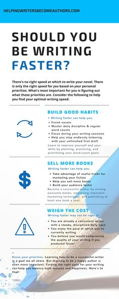 Should You Be Writing Faster Infographic Helping Writers Become Authors K.M… writersrelief.com