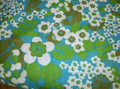 Vintage Flower Power Fabric 4 yds. turquoise by MoongardenVintage