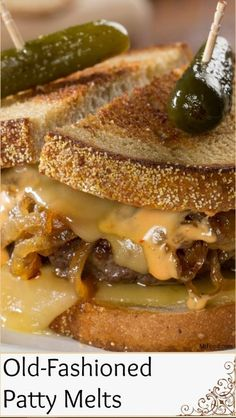 sandwich recipes Everything about these Old-Fashioned Patty Melts is perfect, from the beef patty smothered in cheesy, oniony goodness, to the toasted and buttery rye bread. This sandwich is sure to have you saying quot;Ooh, its so GOUDA! Grill Sandwich, Sandwich Toaster, Soup And Sandwich, Sandwich Melts, Dinner Sandwiches, Hot Sandwich Recipes, Panini Sandwiches, Vegan Sandwiches, Chicken Sandwich