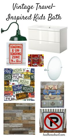 Kids Bathroom Mood Board - Vintage Transportation Theme! Easy, Inexpensive Decor Ideas for a new, bright look!
