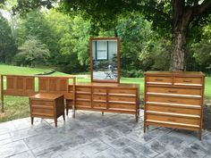 Mid Century Dixie Furniture 5 piece Bedroom Set by NielsenModerne Dixie Furniture, 5 Piece Bedroom Set, Long Dresser, Mid Century Bedroom, King Size Headboard, One Night Stands, Outdoor Furniture Sets, Outdoor Decor, Mid Century Furniture
