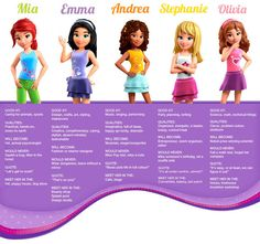 LEGO Friends Characters - because Hayden asks me every two minute what their…