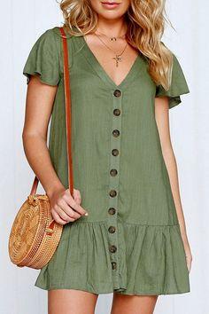 Army-green V Neck Button Ruffles Casual Shift Dress #046565 #maykool #dresses #ruffle #casual #holiday