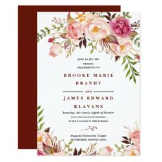 Burgundy Marsala Blush Boho Wedding Invitation