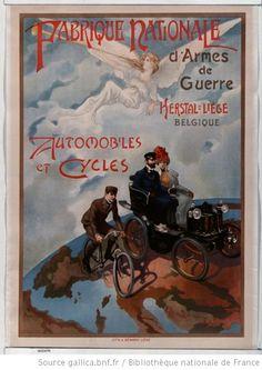 Fabrique nationale d'armes de guerre Herstal-Liège Belgique. Automobiles et cycles : [affiche] / [non identifié] - 1900