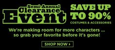 Up to 90% off Costumes! :  Up to 90% off Costumes! Shop the BuyCostumes Semi-Annual Clearance Event **This post contains affiliate links and I will be compensated if you make a... ~  http://www.singlemommies.net/2015/05/up-to-90-off-costumes/