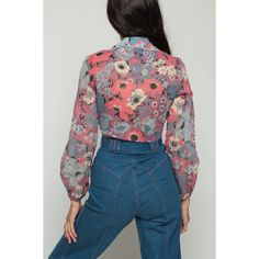 Crop Top Floral Blouse 70s Hippie Boho Shirt Long SHEER Sleeve Top... ($37) ❤ liked on Polyvore featuring tops, blouses, hippie shirts, blue blouse, tie front blouse, vintage shirts and tie front shirt