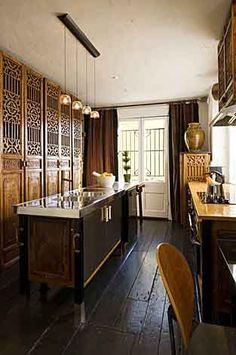 CHINESE ANTIQUE DOORS | Designer Ondine Karady's dining room/kitchen area in her Logan Circle ...