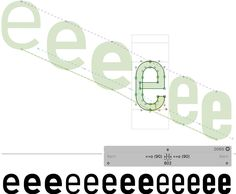 Showing the letter E in font Bahnshrift in a font design tool.