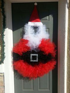 Christmas Santa Tulle Wreath. Santa wreath.  Tulle wreath.  Christmas wreath.