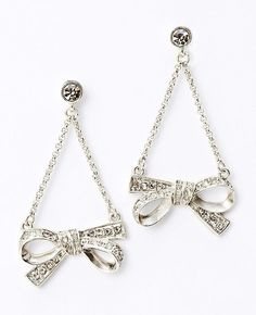 ann taylor pave bow drop earrings