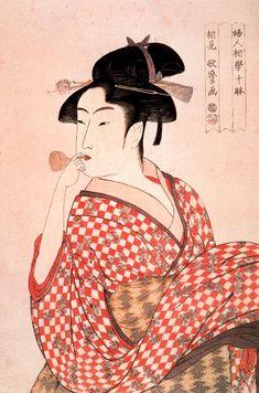 Kitagawa Utamaro. Girl blowing a whistle
