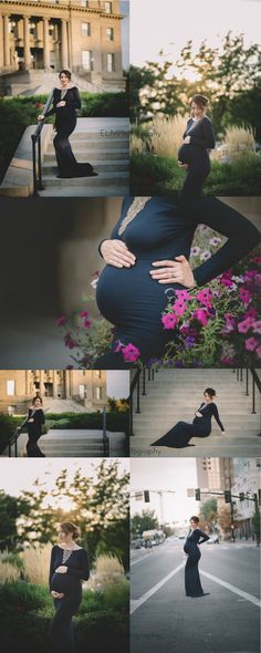 A romantic and glamorous outdoor Fall / Winter maternity photoshoot, captured in the downtown city of Boise, wearing a royal blue Sew Trendy Krysten Gown.