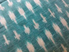 Handloom Cotton Ikat Fabric Turquoise Green White Indian by RaajMa, $7.50
