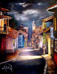 MONOLOGO EN LA CANDELARIA Oleo sobre lienzo 30x40cm. LA CANDELARIA en Bogotá es un barrio colonial que resume los orígenes de la ciudad y donde viven y acuden en busca de inspiración los poétas los pintores los músicos los cantautores .... VENDIDO.