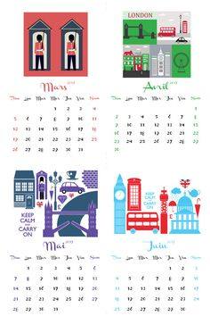 2017 2016 FRENCH Language calendar London UK, different sizes, each month different design, British England Tower Bridge, Paper version by HemBee on Etsy