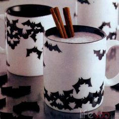 Black and white Avant Bats coffee mugs. They just SCREAM HALLOWEEN, don't you think?