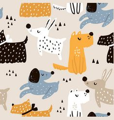 Childish seamless pattern with hand drawn dogs. Perfect for kids apparel,fabric, textile, nursery decoration,wrapping paper Pattern Cute, Dog Pattern, Dog Vector, Free Vector Art, Cute Bear, Sleeping Dogs, Pattern Illustration, Textile Patterns, Custom Fabric