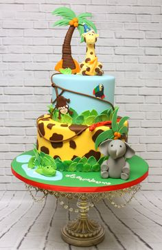 Trendy Ideas baby boy birthday cake one Jungle Birthday Cakes, Jungle Safari Cake, Jungle Theme Cakes, Baby Boy Birthday Cake, Safari Theme Birthday, Animal Birthday Cakes, Safari Cakes, Themed Birthday Cakes, Birthday Ideas