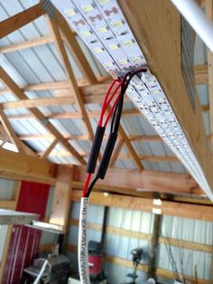 LED strips along truss Lighting Garage DIY cheapr