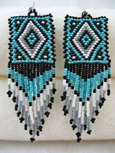 Beaded Native American Indian Style Earrings with by TimmieLittle, $15.00