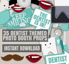35 Dentist Themed Party Photo Booth Props, Dentist props, love dentistry party…