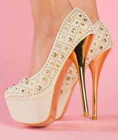 Gold Spiked Heels