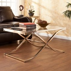 Have to have it. Southern Enterprises Vogue Cocktail Table - Champagne Brass - $229.99 @hayneedle