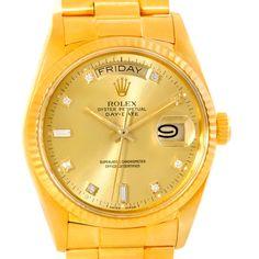 Rolex President Day-Date Diamond Mens 18k Yellow Gold Watch 18038