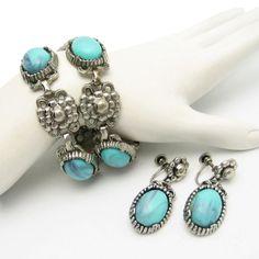 Mid Century Faux Turquoise Bracelet Earrings Vintage Nouveau Style Set Silvertone Large #MyClassicJewelry