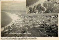 A view of the Chesil Beach, Dorset, in 1936 or shortly before, with the hulk of the Madelaine Tristan adjacent to the old cliff of Pleistocene debris Old Pictures, Old Photos, Portland Dorset, Southampton, Cliff, Geology, Hulk, Old Things, England