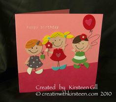 Stampin' Up! Owl punch art - cute kids! Birthday card