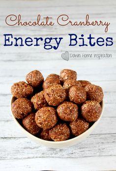 No Bake Chocolate Cranberry Energy Bites - Down Home Inspiration