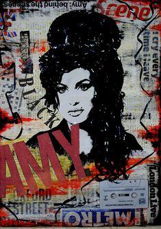 artBASM: 'Amy Winehouse - Back to Black' ( Mixed Media - Collage )