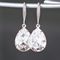 Swarovski Crystal Teardrops Set in Silver with by CJRoseBoutique, $38.00
